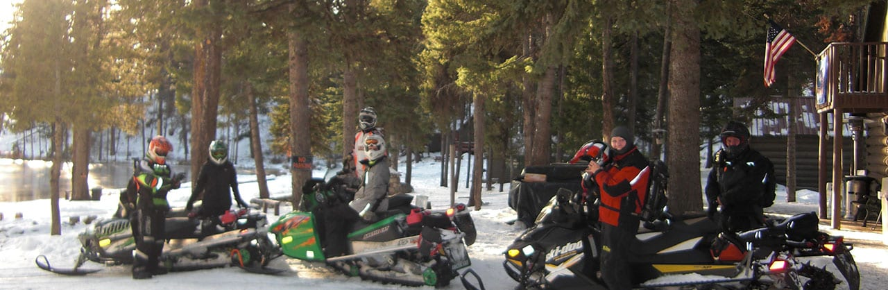 group on snowmobiles